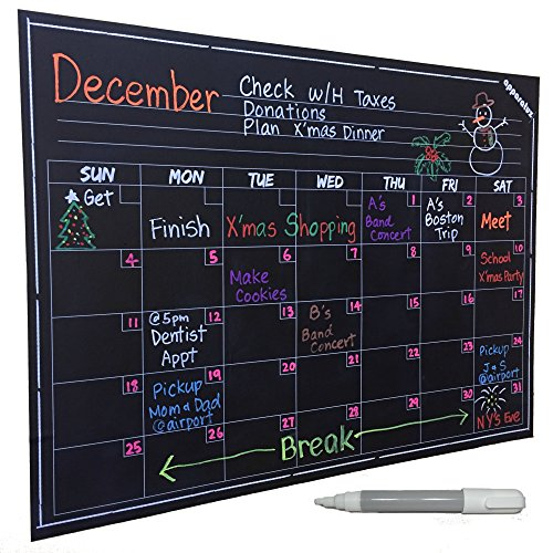 Reusable Monthly Calendar : Wall calendar large chalkboard decal smart monthly dry