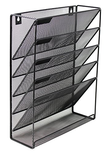 mesh wall mounted hanging document file organizer 5 compartment vertical magazine rack. Black Bedroom Furniture Sets. Home Design Ideas