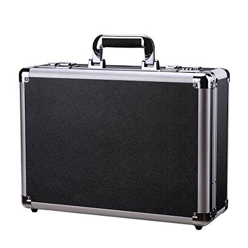 Aluminum Hard Briefcase Black Tool Box Flight Case with ...